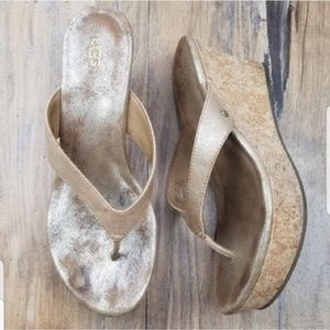 Ugg Natassia Gold Wash Cork Wedge Thong Sandals